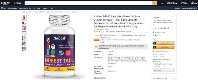 NuBest Tall được bán trên Amazon nhiều năm nay