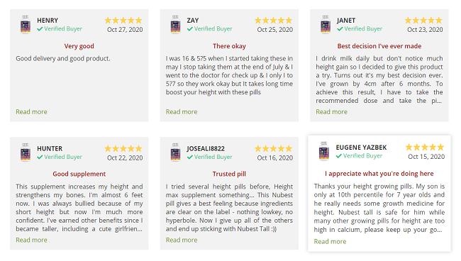 NuBest Tall USA review trên website của thương hiệu NuBest ở Mỹ