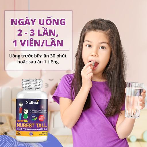 Cách sử dụng Nubest tall 5 - 10 tuổi 2 lần, 11 - 20 uống 3 lần, mỗi lần 1 viên